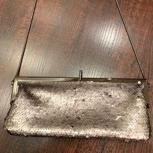Silver sequin evening bag/ clutch